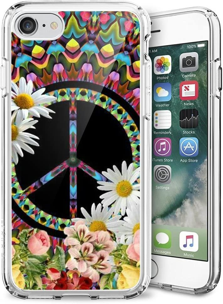 Slim Clear Flame Soccer Case for iPhone 7/8/SE 2020 Customized Design Soft TPU and Rubber Flexible Durable Shockproof iPhone 7/8/SE 2020 Protective Case-Anti-Slippery (Floral Peace Sign)