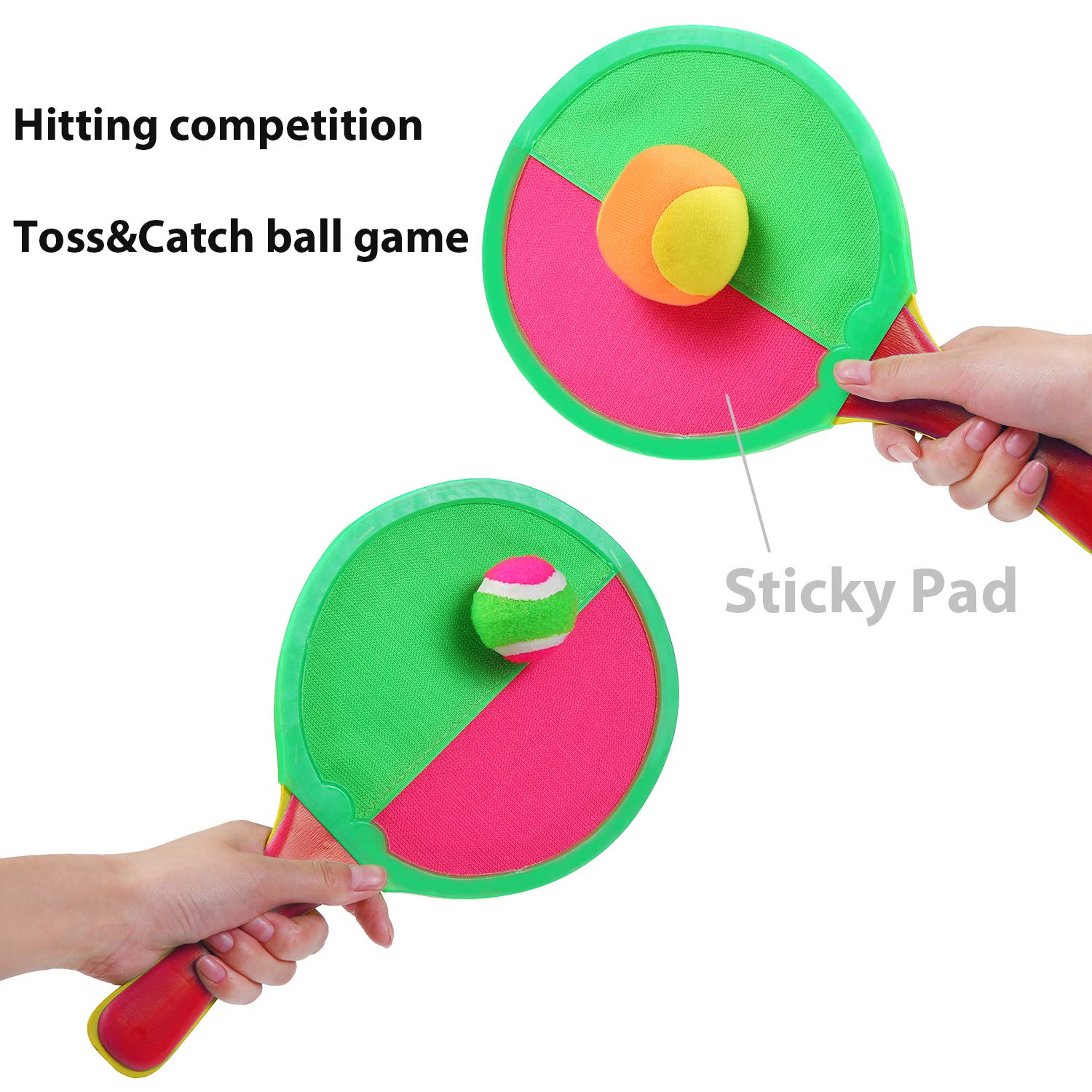 Tupa Toss and Catch Paddle Racket Game Set Indoor and Outdoor Toy Tennis Baseball Summer Game with Storage Bag 2 Paddles and 4 Balls