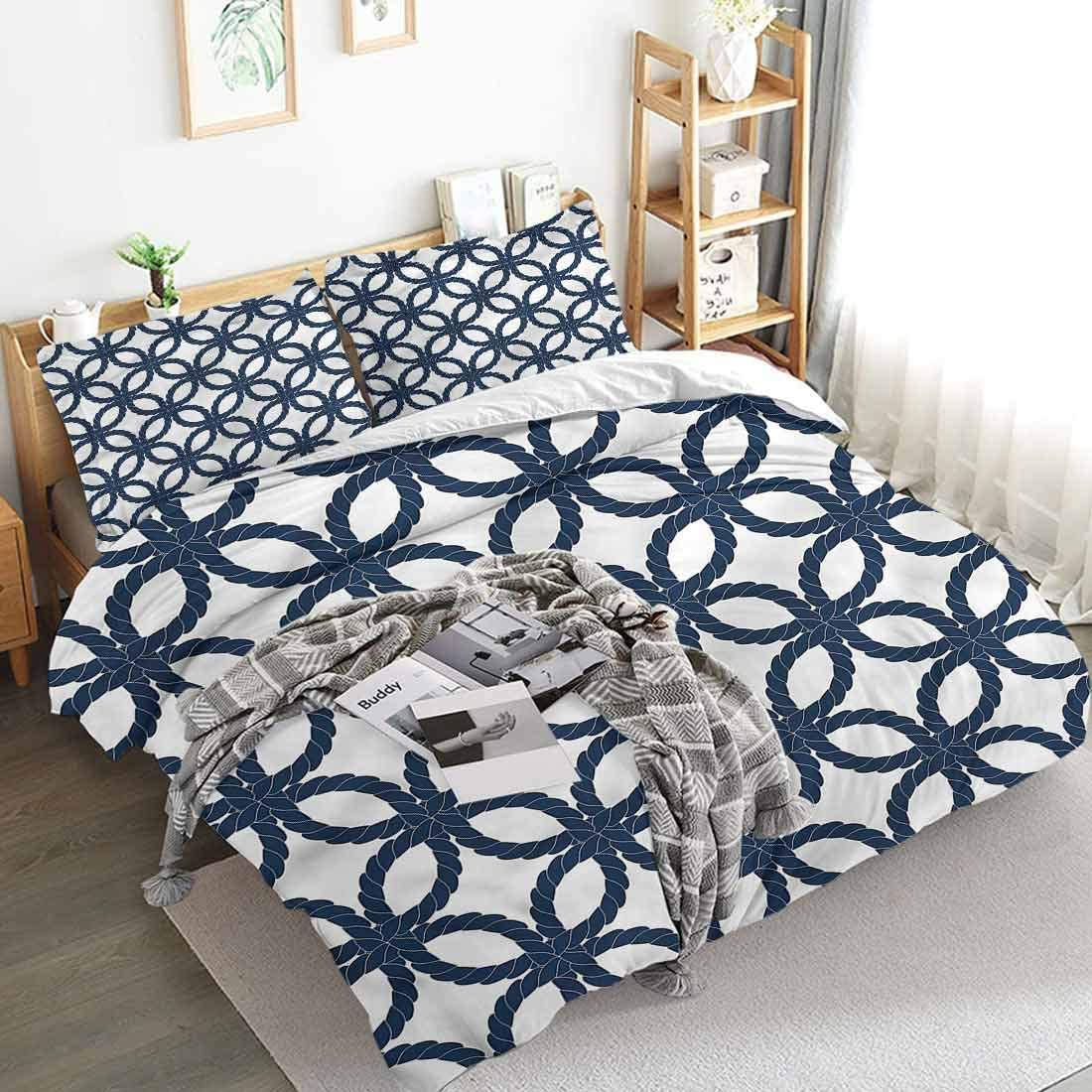 Duvet Cover Navy Blue Twisted Marine Rope Motif Microfiber with Zip Closure,Three-Piece Quilt Cover 68x86 inch Soft and Breathable
