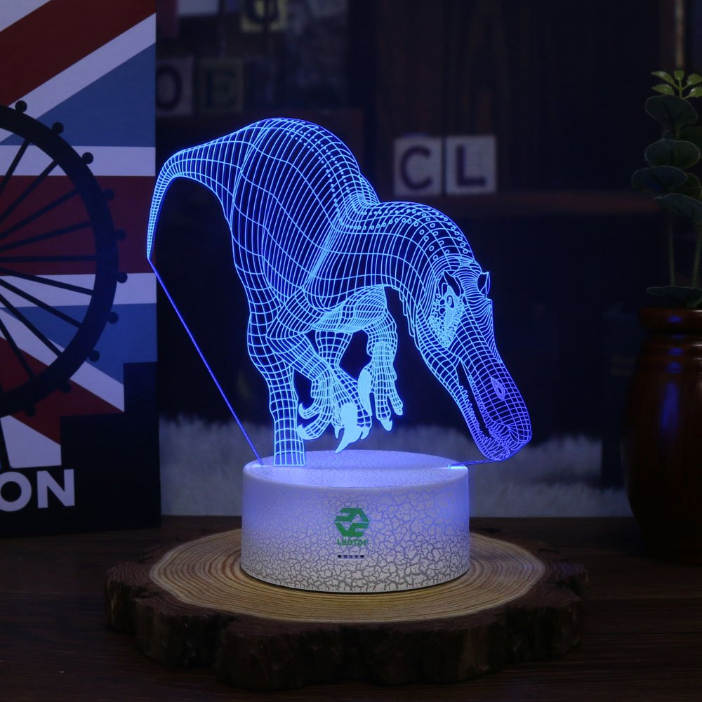 Night Light Dinosaur for Kids Illusion Birthday Gift LED Optical Desk Lamp Table Touch Nursery Walking Animals Party Western Children Room Decor 7 color Changing USB Crackle Carcharodontosaurus