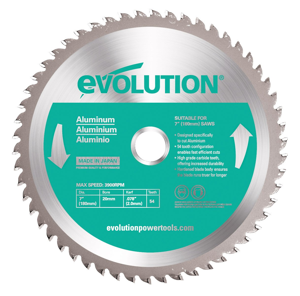 Evolution Power Tools 180BLADEAL Aluminum Cutting Saw Blade, 7-Inch x 54-Tooth