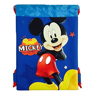 Disney Mickey Mouse Drawstring String Backpack School Sport Gym Tote Bag: Clothing