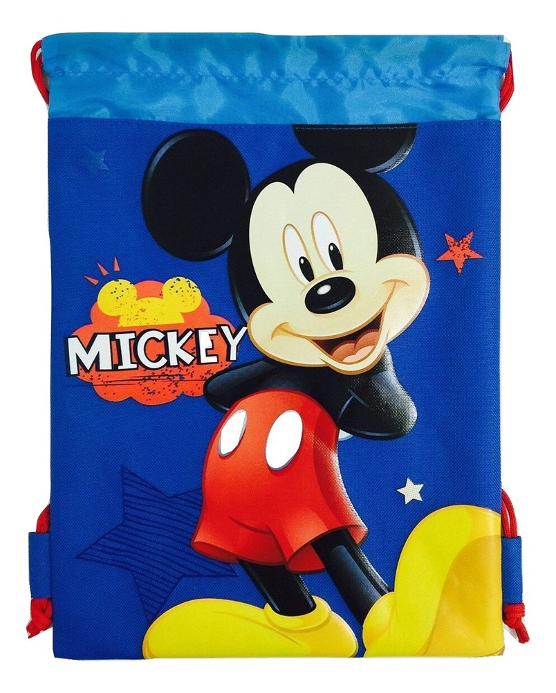 Disney Mickey Mouse Drawstring String Backpack School Sport Gym Tote Bag