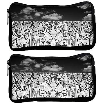 Snoogg Pack De 2 Graffiti negro y blanco funda tela estudiante pluma lápiz caso bolsa de cosméticos bolsa de monedero: Amazon.es: Oficina y papelería