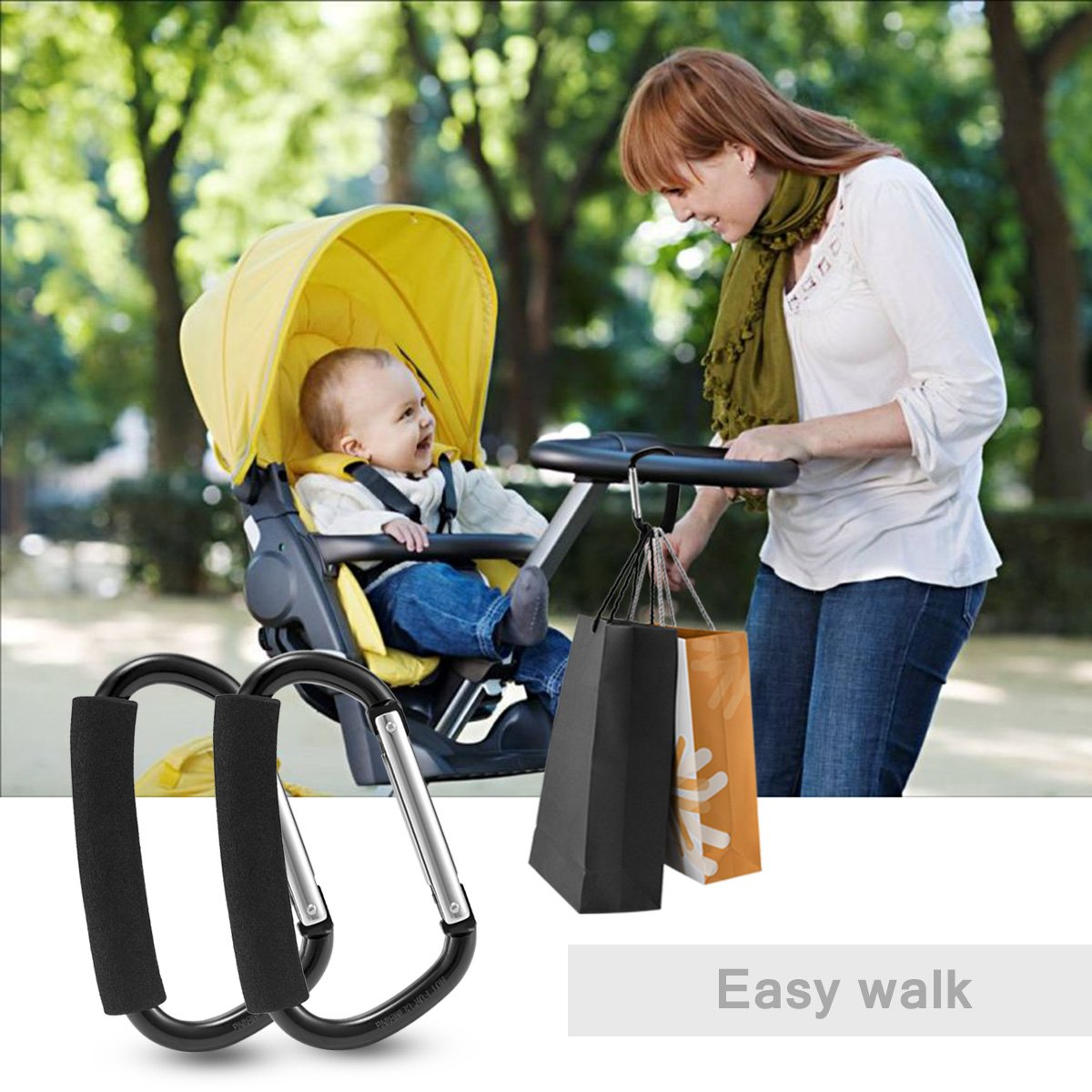 Avinee Handy Stroller Hook,Clips On Any Baby Stroller Or Infant Car Seat,Prefect for Diaper Bags, Toys, Bags, Stroller Accessories, Baby Changing Pad -Pack of 2 by Avinee (Image #4)