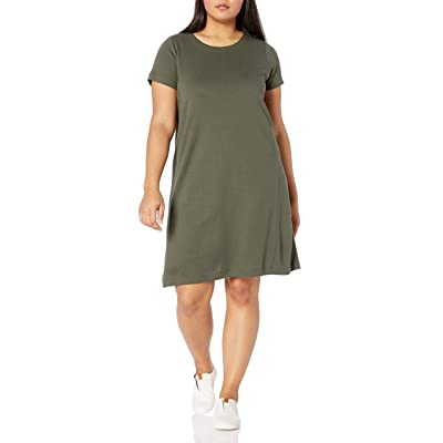 Brand - Daily Ritual Women's Plus Size Pima Cotton and Modal Short-Sleeve Scoop Neck Dress: Clothing