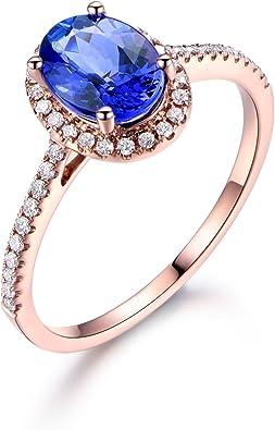 Rose Solid 10k Gold Tanzanite and Diamond Engagement Proposal Ring