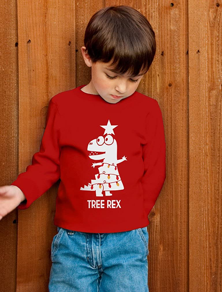 Tree Rex Cute Funny T-Rex Dinosaur Christmas Toddler//Kids Long Sleeve T-Shirt