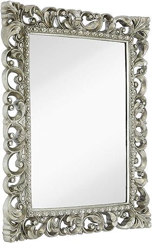 Hamilton Hills Antique Silver Ornate Baroque Frame Mirror Elegant Old World Feel Plate Glass Mirrored Design Hangs Horizontal or Vertical 28.5 x 36.5