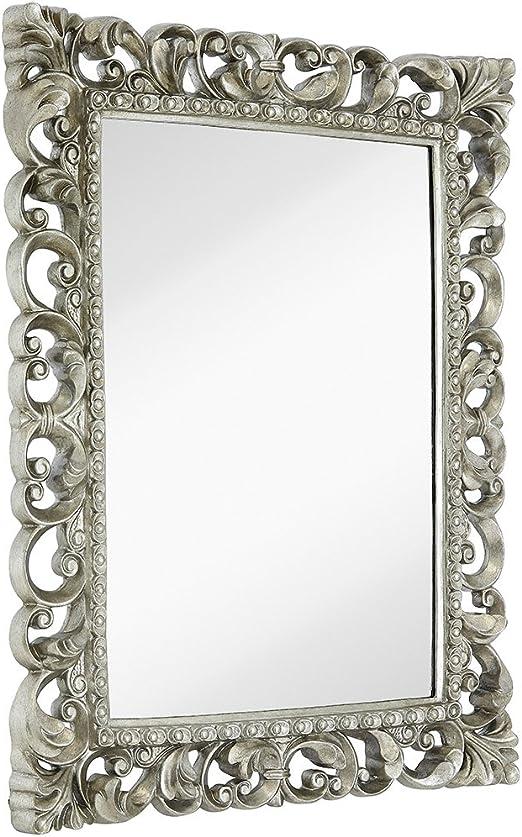 Amazon Com Hamilton Hills Antique Silver Ornate Baroque Frame Mirror Elegant Old World Feel Plate Glass Mirrored Design Hangs Horizontal Or Vertical 28 5 X 36 5 Home Kitchen