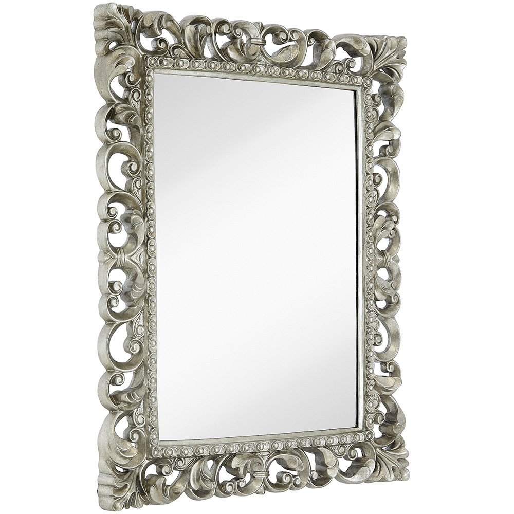 "Hamilton Hills Antique Silver Ornate Baroque Frame Mirror | Elegant Old World Feel Beveled Plate Glass Mirrored Design | Hangs Horizontal or Vertical (28.5"" x 36.5"")"