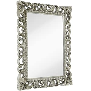 "Hamilton Hills Antique Silver Ornate Baroque Frame Mirror | Elegant Old World Feel Beveled Plate Glass Mirrored Design | Hangs Horizontal or Vertical (28.5"" x 36.5"")"
