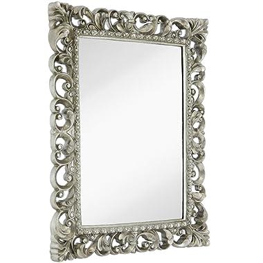 Hamilton Hills Antique Silver Ornate Baroque Frame Mirror   Elegant Old World Feel Plate Glass Mirrored Design   Hangs Horizontal or Vertical (28.5  x 36.5 )