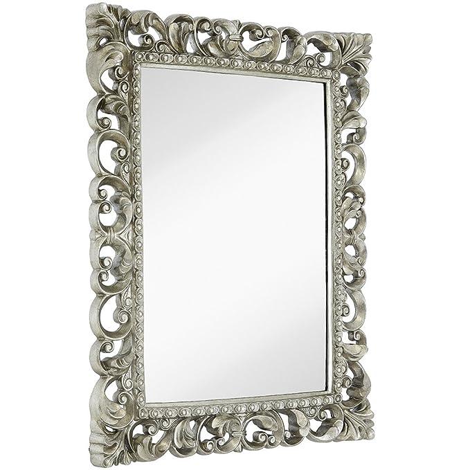 Hamilton Hills Antique Silver Ornate Baroque Frame Mirror | Elegant Old World Feel Plate Glass Mirrored Design | Hangs Horizontal or Vertical (28.5