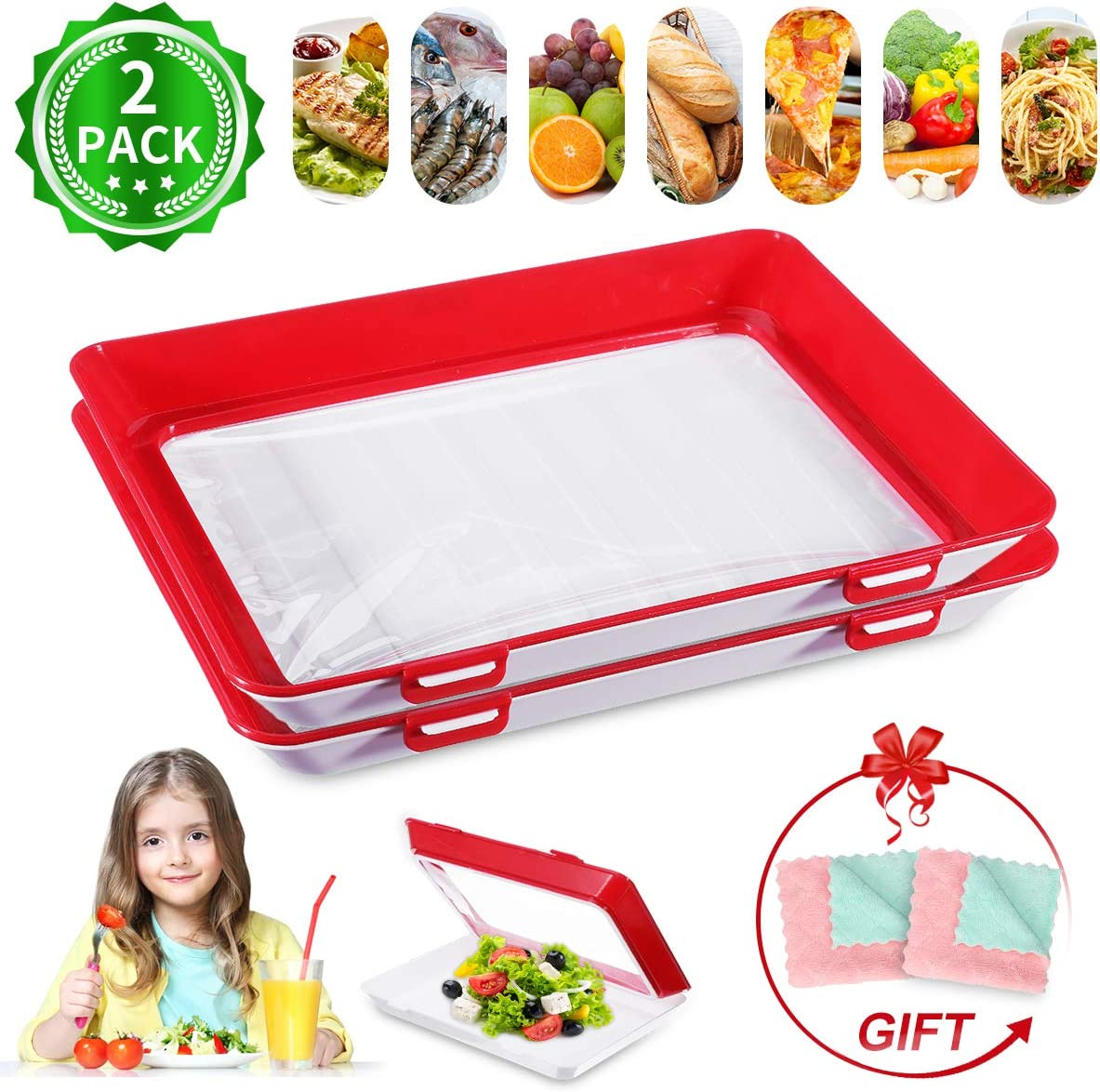 Stackable Food Preservation Tray JOYXEON Freezer Containers Food Storage Container with Elastic Lid for Vegetable Fruits Meat Fish, Reusable BPA Free, keep food fresh [Set of 2 Trays + 2 Dish Towels]