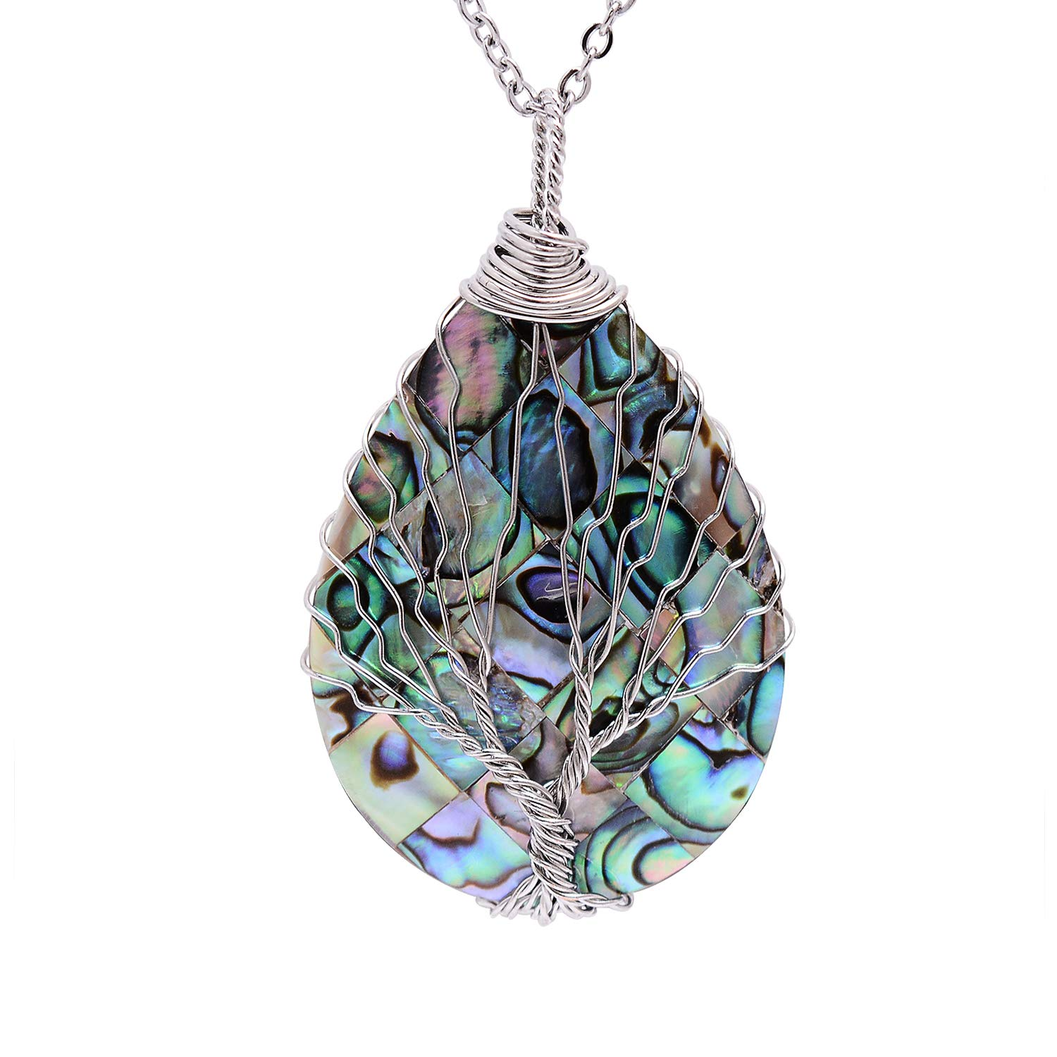 Wire Wrapped Abalone Teardrop Necklace – Handmade Silver Abalone Shell Water Drop Tree of Life Pendent Jewelry for Women