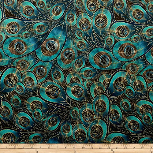 Fabric Morgan Peacock Feather Printed Velvet Yard, Teal
