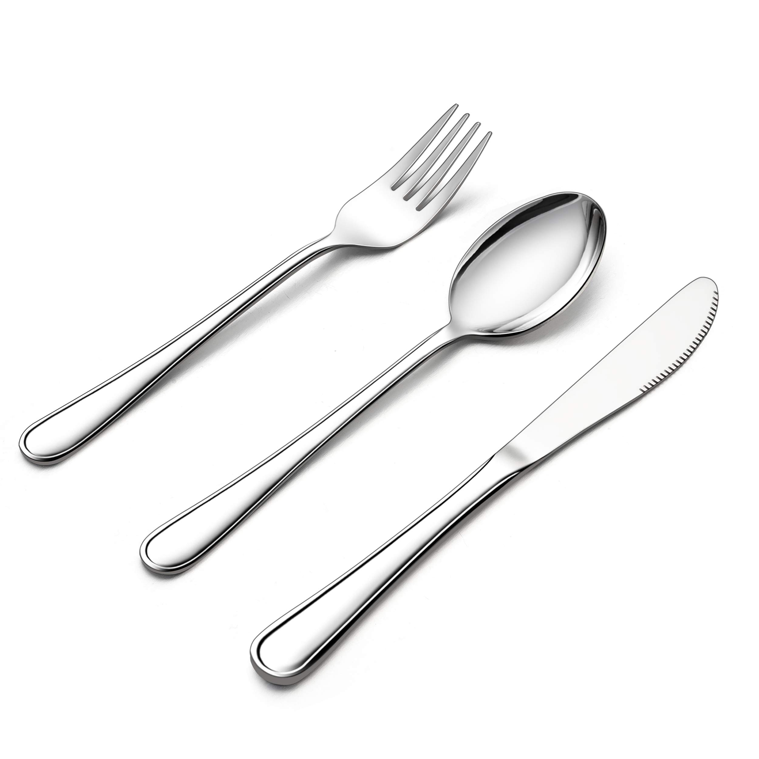 LIANYU 12-Piece Kids Silverware Set, Stainless Steel Toddler Utensils Flatware Set, Child Cutlery Tableware Set for 4, Include Knife/Fork/Spoon, Mirror Finished, Dishwasher Safe by LIANYU