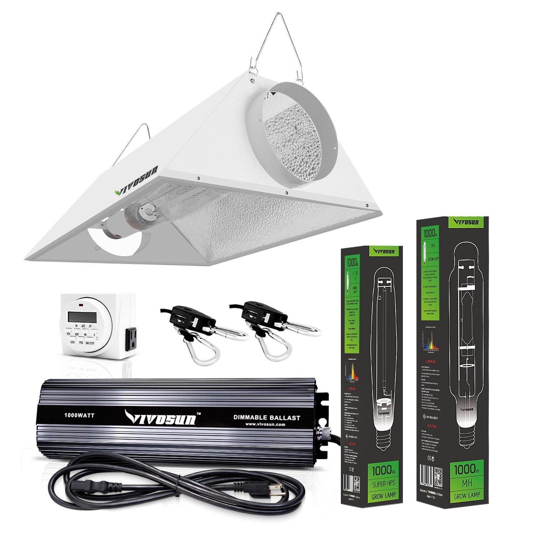 amazoncom vivosun hydroponic watt hps mh grow light air cooled reflector kit easy to set up high stability u0026 enhanced version
