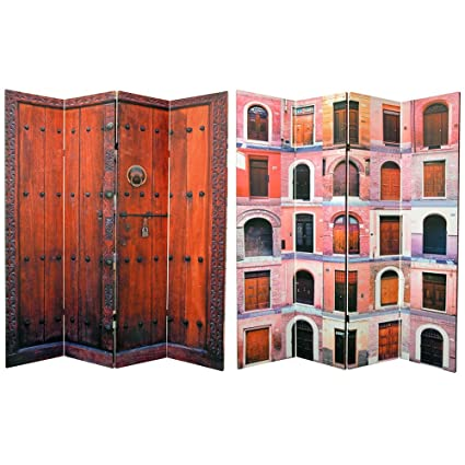 Tall Double Sided Doors Canvas Room Divider 4 Panel  sc 1 st  Amazon.com & Amazon.com: Oriental Furniture 6 ft. Tall Double Sided Doors Canvas ...