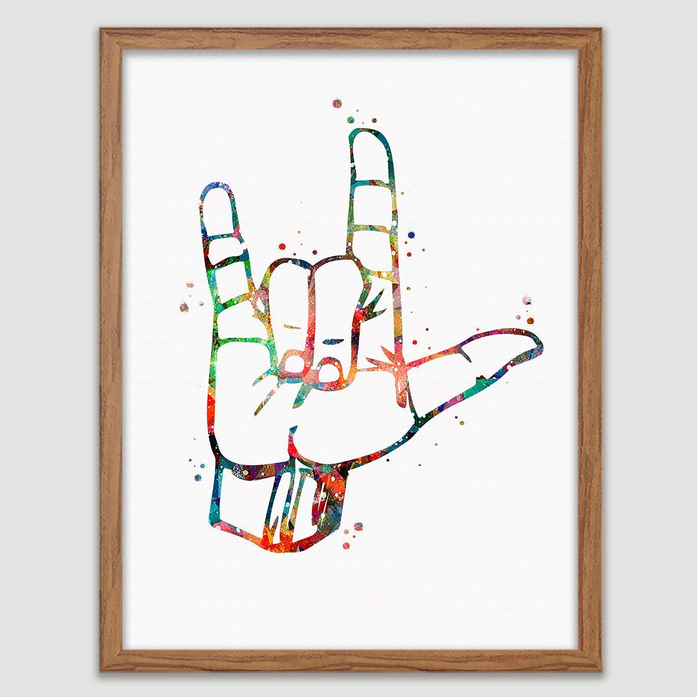 American Sign Language Watercolor Poster I Love You Sign Language Art ASL Print I Love You ASL American Sign Language Decor Sign Language Wall Decor I Love You Wall Art
