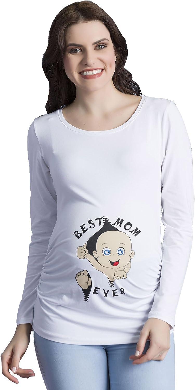 Best Mom Ever - Camiseta Divertido Estampada de Manga Larga Premamá para Mujer Embarazo Lactancia T-Shirt (Blanco, Medium)