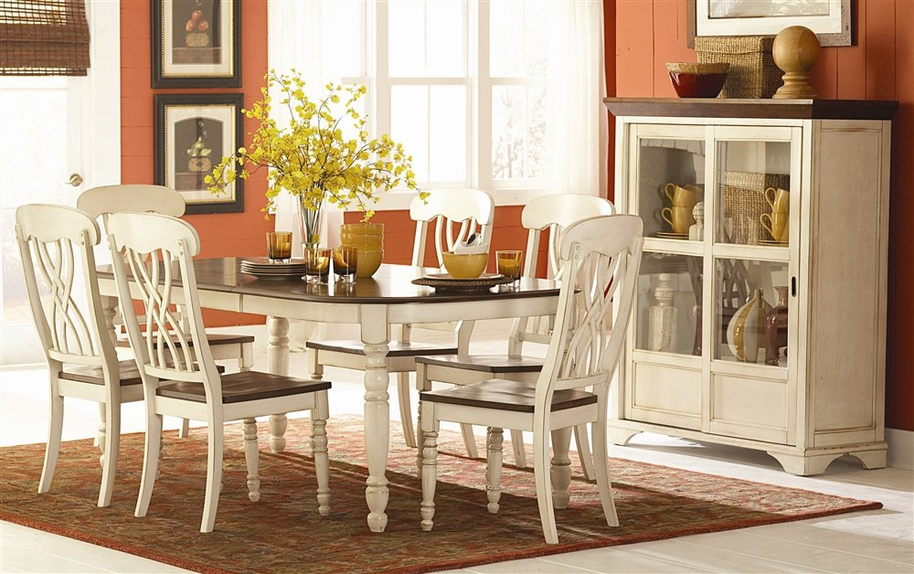 Amazon.com: Homelegance Ohana 7 Piece Dining Table Set in White ...