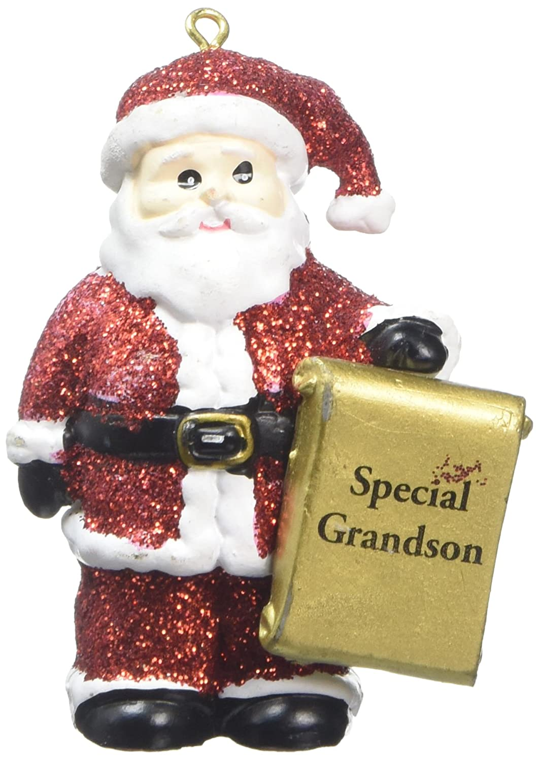 SPECIAL GRANDSON Snowman Blue Glittered Christmas Tree Decoration
