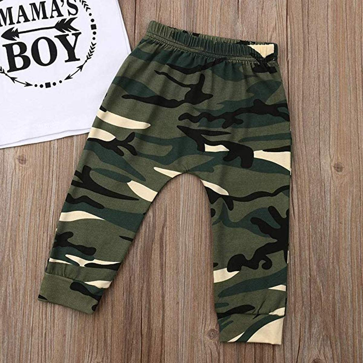 Newborn Infant Baby Boys T-Shirt King Letter Printed Top Camouflage Short Pant Short Outfits