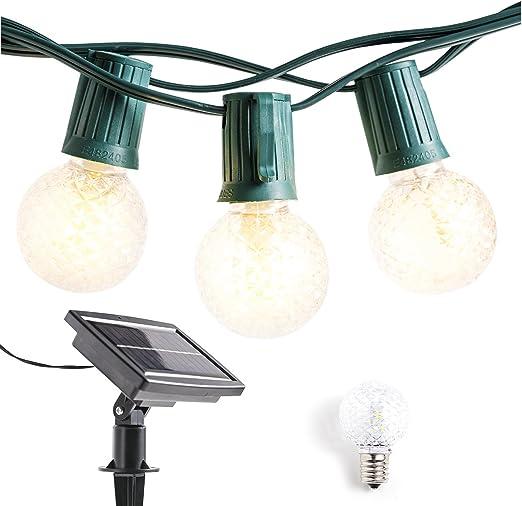 Guirnalda de luces para exteriores con energía solar, 40 pies, G40 ...