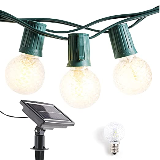 timeless design e78b7 ab124 Solar Powered Outdoor String Lights Patio Lights - 40ft G40 LED String  Lights Globe Lights with Hanging Sockets Commercial Grade Waterproof String  ...