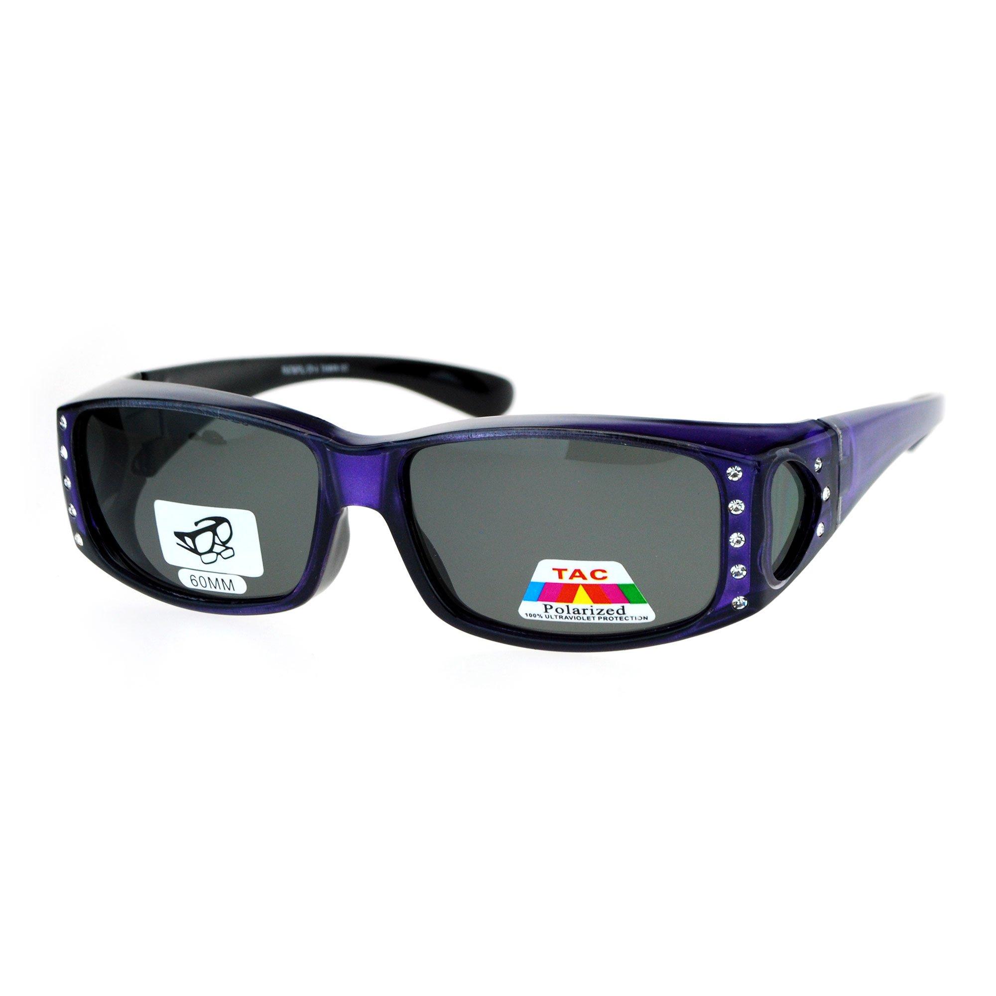 SA106 Womens Rhinestone Polarized Lens Rectangular 60mm Fit Over Sunglasses Purple