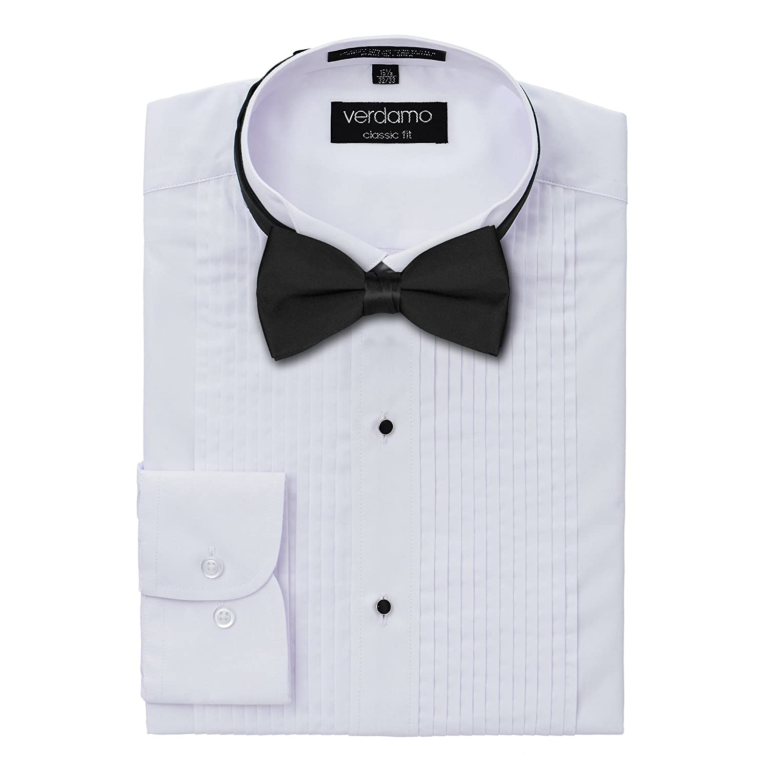 S.H. Churchill & Co. Men's Tuxedo Shirt and Bow Tie Set - Laydown Collar