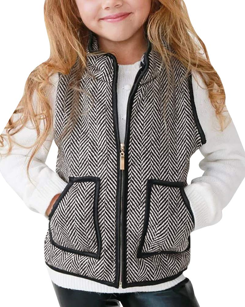 Bbalizko Girls Buffalo Vest Fall Cute Puffer Padded Jackets Quilted Lined Gilet Winter Warm Clothes Coffee by Bbalizko