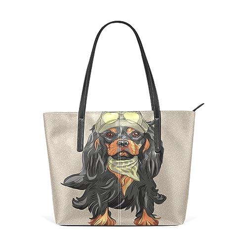 Amazon.com: Para mujer bolsos de piel perro negro bolsos ...