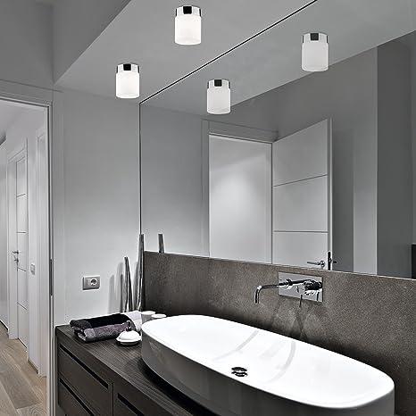 Aufbaustrahler Glasschirm Weiss Eckig Chrom Modern Ip44 G9 Badezimmer Decke Spot Beleuchtung Amazon De Beleuchtung