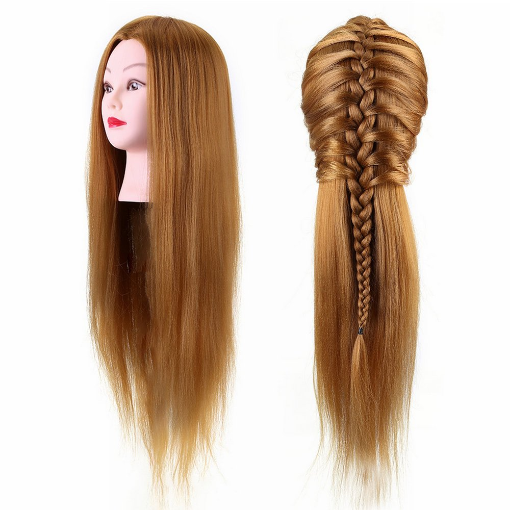 40% Real Human Hair Mannequin Head Hairdresser Training Head Cosmetology Doll Head Blond (26in) Yosoo