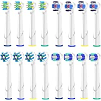 Pack de 16 Brossette De Rechange Pour Oral-B Têtes de Brosse à Dents Electrique, Pack de 4 Brossettes PrecisionClean, 4 Crossaction, 4 3D White, 4 Flossaction (16)