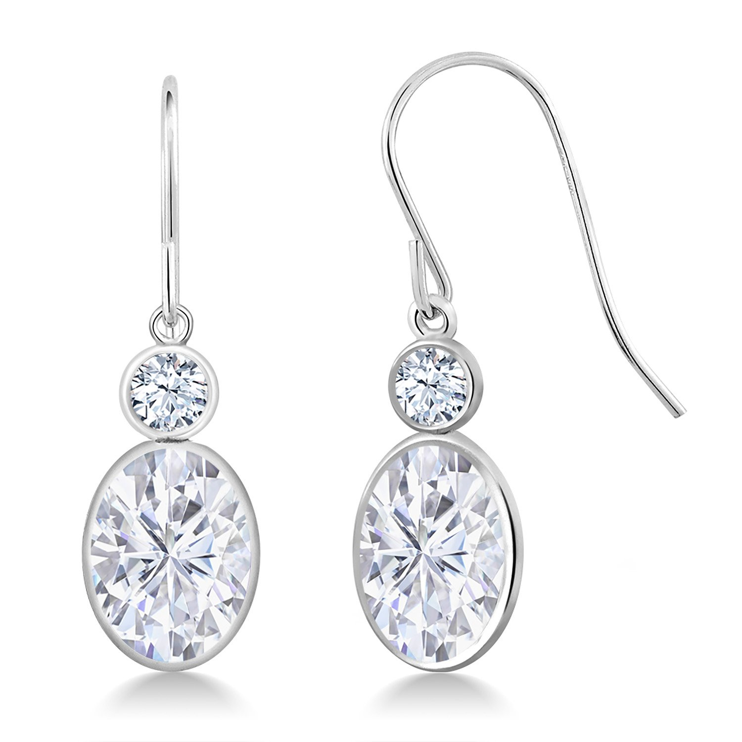 14K White Gold Dangle Earrings Forever One (GHI) Oval 3.00ct (DEW) Created Moissanite by Charles & Colvard and Created Sapphire