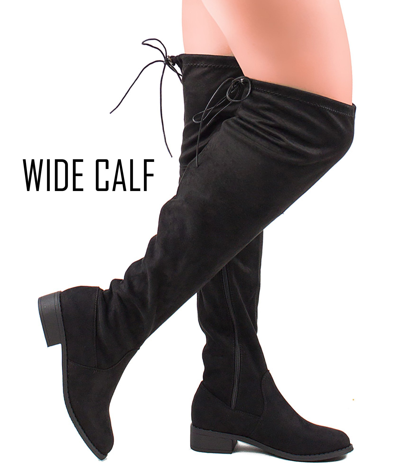 RF ROOM OF FASHION Women's Faux Suede Back Tie Fitted Flat to Low Chunky Heel Over The Knee High Boots Black-Wide Calf (8)