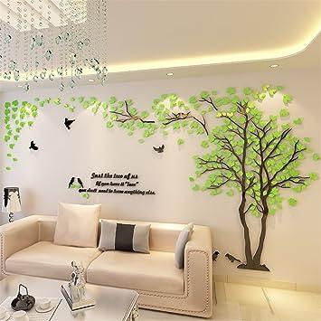 DIY 3D Riesiger Baum Paar Wandtattoos Wandaufkleber Kristall Acryl Malen  Wanddeko Wandkunst (L, Grün
