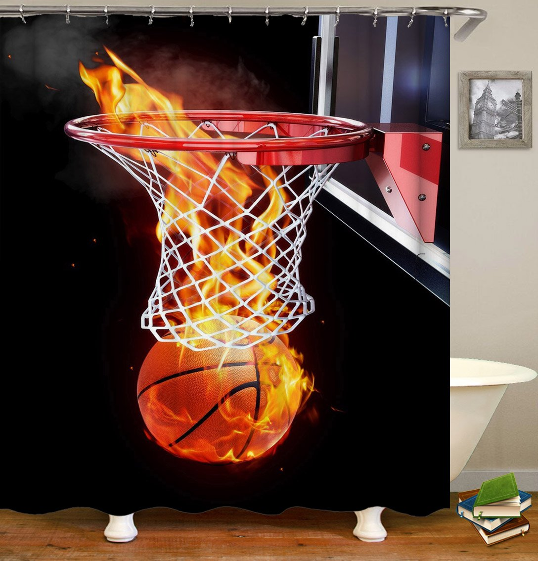 Livilan Basket Fan Shower Curtain Set, Inspiring Fire Basket Print, Thick Polyester Fabric, Mildew Mold Resistant Waterproof Machine Washable, 72 X 72 inch, Black Coral