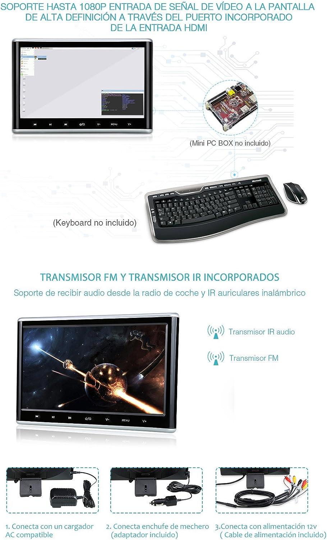 Pumpkin CH1011B - Reproductor de DVD para Reposacabezas de Coche (10.1