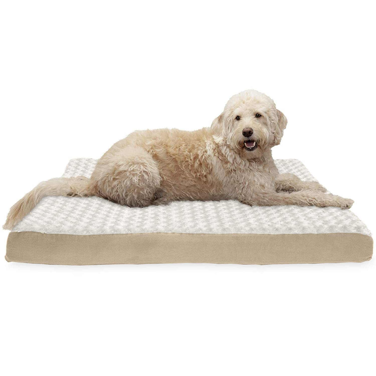 Cream Jumbo Cream Jumbo FurHaven Pet Dog Bed   Deluxe Cooling Gel Memory Foam Orthopedic Ultra Plush Mattress Pet Bed for Dogs & Cats, Cream, Jumbo