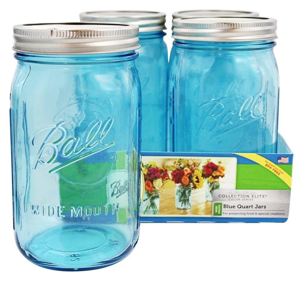 Ball Mason Jar-32 oz. Aqua Blue Glass Ball Collection Elite Color Series Wide Mouth-Set of 16 Jars