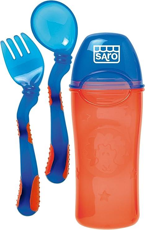 Saro - Cubiertos ergonómicos con estuche: Amazon.es: Bebé