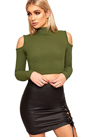 8cdbdb2d743b5b WearAll Womens Cut Out Shoulder Crop Top Ribbed Long Sleeve Turtle Neck  6-12  Amazon.co.uk  Clothing