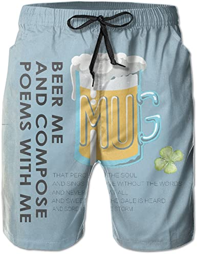 Mens Beer Me Can You Summer Pringting Quick Dry Board Shorts Bathing Suits Swimwear Swim Trunks Beach Shorts