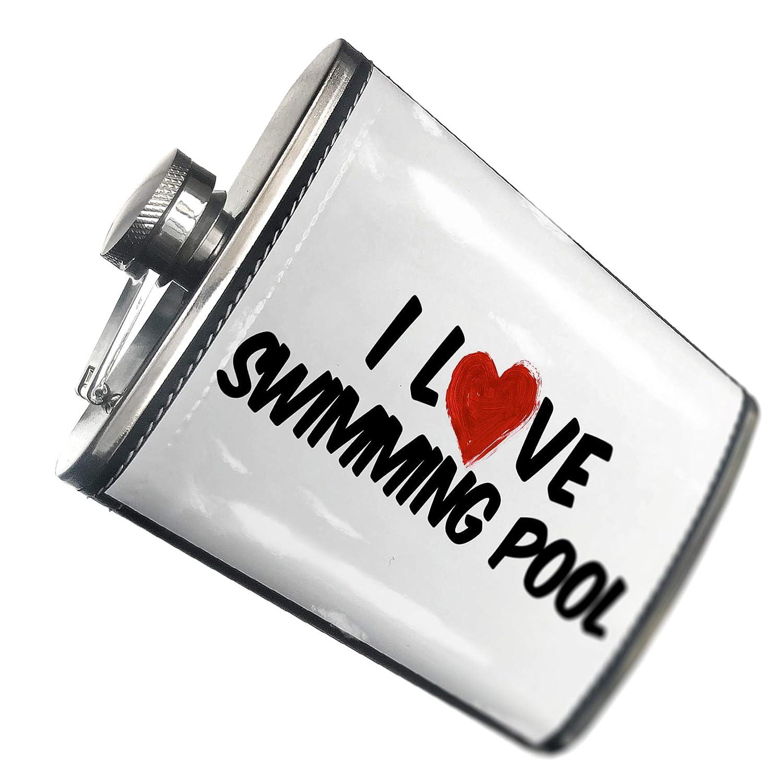 8オンスフラスコステッチI Love Swimmingプールカクテルステンレススチール – Neonblond   B00QQVEIDM