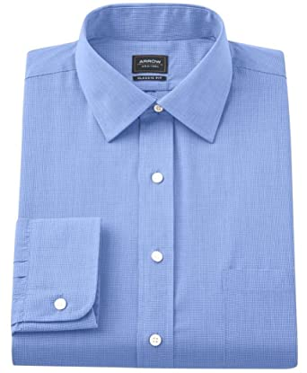 1fa5cb12523846 Arrow Mens Classic-Fit Micro-Checked Spread-Collar Dress Shirt Blue (14